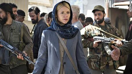 Clare Danes on set for Homeland.