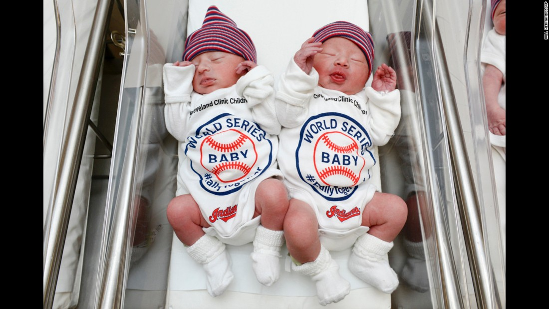 "Babies wear World Series onesies at the Cleveland Clinic's Fairview Hospital on Tuesday, October 25. The Cleveland Indians are playing the Chicago Cubs in the Fall Classic, and babies born at the clinic's hospitals <a href=""http://www.cnn.com/2016/10/25/health/cleveland-clinic-world-series-babies-trnd/"" target=""_blank"">will wear these outfits</a> throughout the seven-game series."