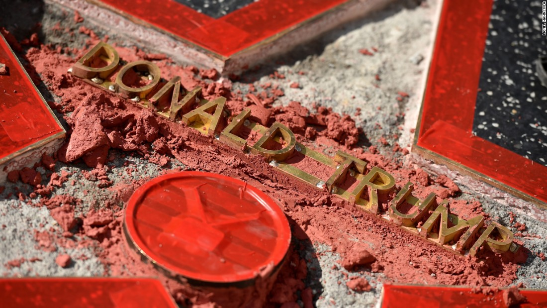 "Donald Trump's star on the Hollywood Walk of Fame <a href=""http://www.cnn.com/2016/10/26/politics/hollywood-star-donald-trump-vandalism/index.html"" target=""_blank"">was vandalized</a> on Wednesday, October 26. Los Angeles police said they have a man in custody."