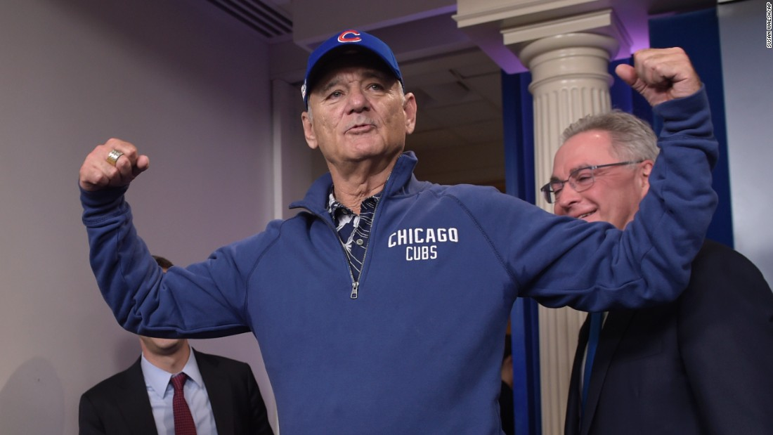 "Actor Bill Murray surprised reporters with <a href=""http://www.cnn.com/2016/10/21/politics/bill-murray-white-house-mark-twain-prize/index.html"" target=""_blank"">an unexpected appearance in the White House briefing room</a> on Friday, October 21. Murray, decked out in the gear of his favorite baseball team, came to the podium minutes after White House Press Secretary Josh Earnest wrapped up the official briefing. He was at the White House to receive the Mark Twain Prize, an annual award for American humor."