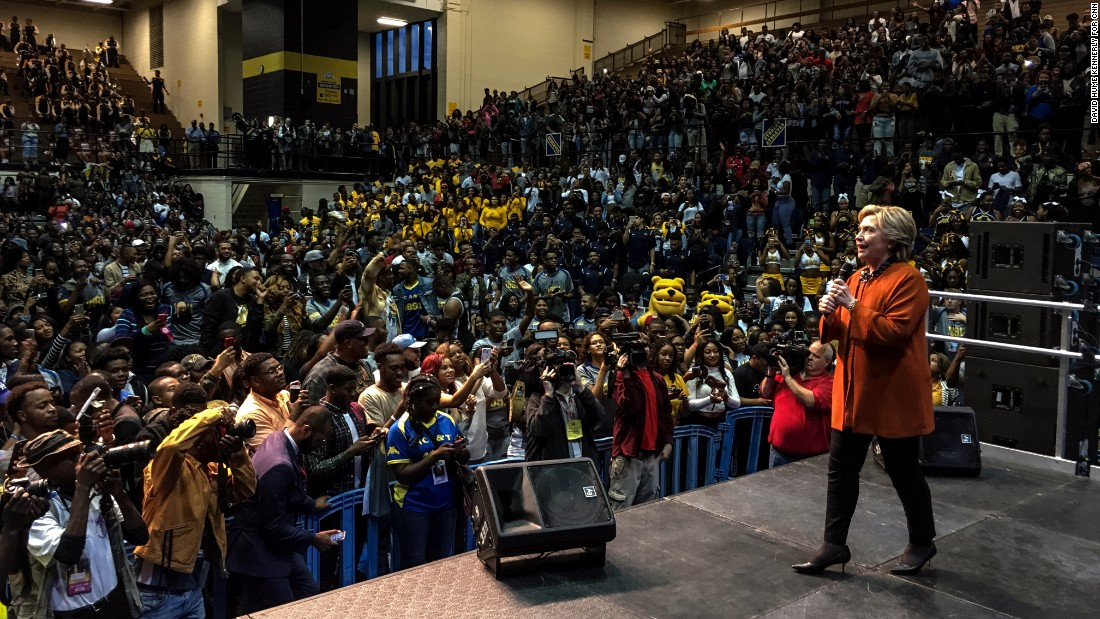 Clinton attends a homecoming pep rally at North Carolina A&T State University on Thursday, October 27.