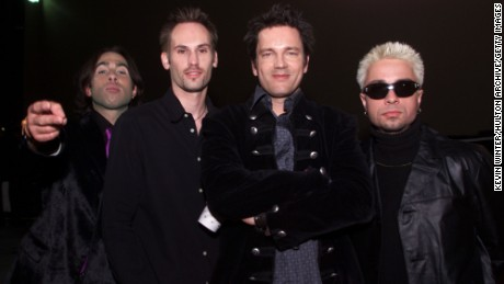 Third Eye Blind band members Arion Salazar, left, Brad Hargreaves, second from left, Stephan Jenkins, second from right, and Tony Fredianelli, right pose backstage after the 2000 Radio Music Awards at the Aladdin Hotel in Las Vegas, 11/04/00.