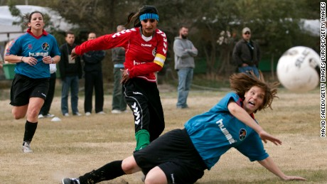 The Afghan women's national football team played a friendly against the local NATO force.