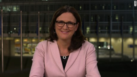 EU Trade Commissioner, Cecilia Malmström speaks to Christiane Amanpour about the EU-Canada trade deal that looks like it's back from the brink.