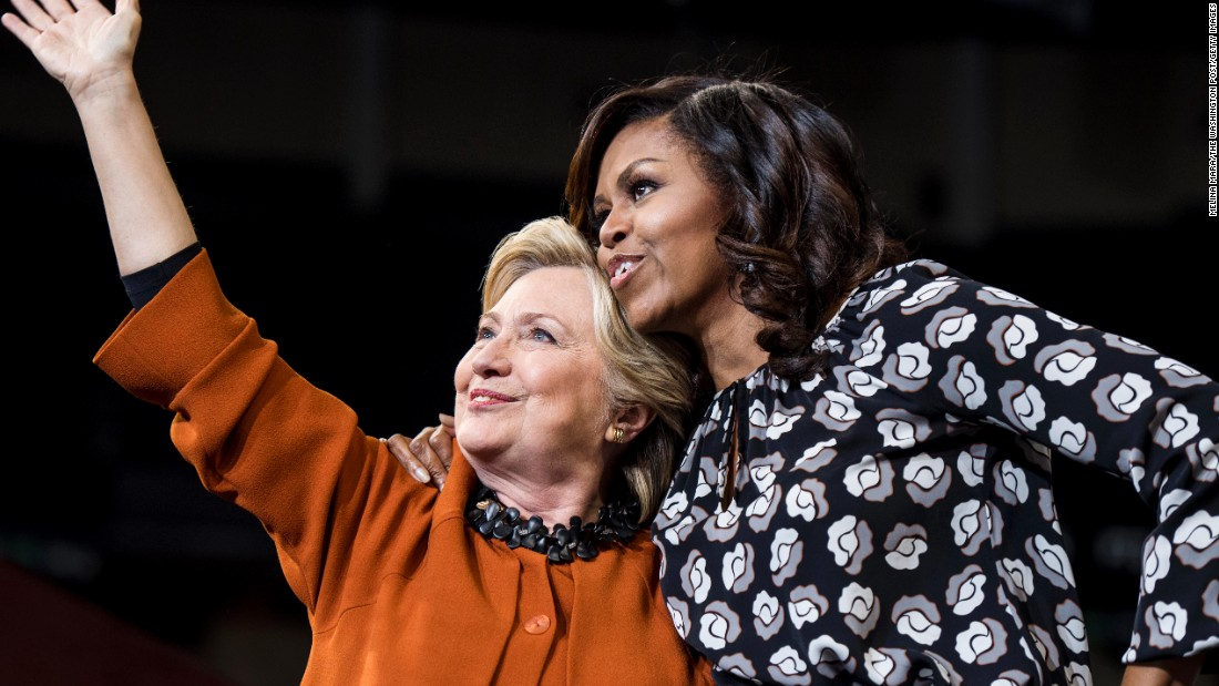 Democratic presidential nominee Hillary Clinton campaigns in Winston-Salem, North Carolina, with first lady Michelle Obama on Thursday, October 27.