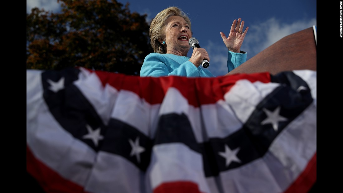 Democratic presidential nominee Hillary Clinton speaks at a campaign rally in Manchester, New Hampshire, on Monday, October 24.