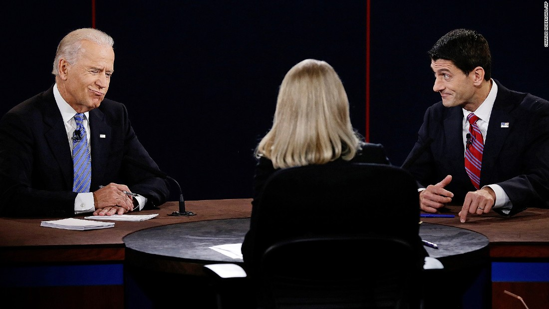 Biden debates US Rep Paul Ryan, Mitt Romney's running mate, in the run-up to the 2012 election.