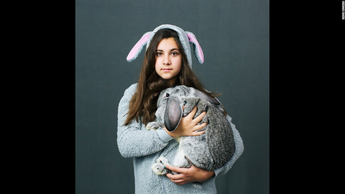 Peyton Brackenbury, a 12-year-old from Richland, Washington, holds a French Lop rabbit at a national convention held by the American Rabbit Breeders Association.