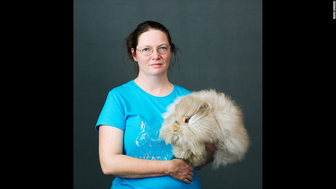 Shannon Shanks, of Banks, Oregon, holds her Angora rabbit Austin. She chooses rabbit names after American cities. Austin's mom was named Dallas.
