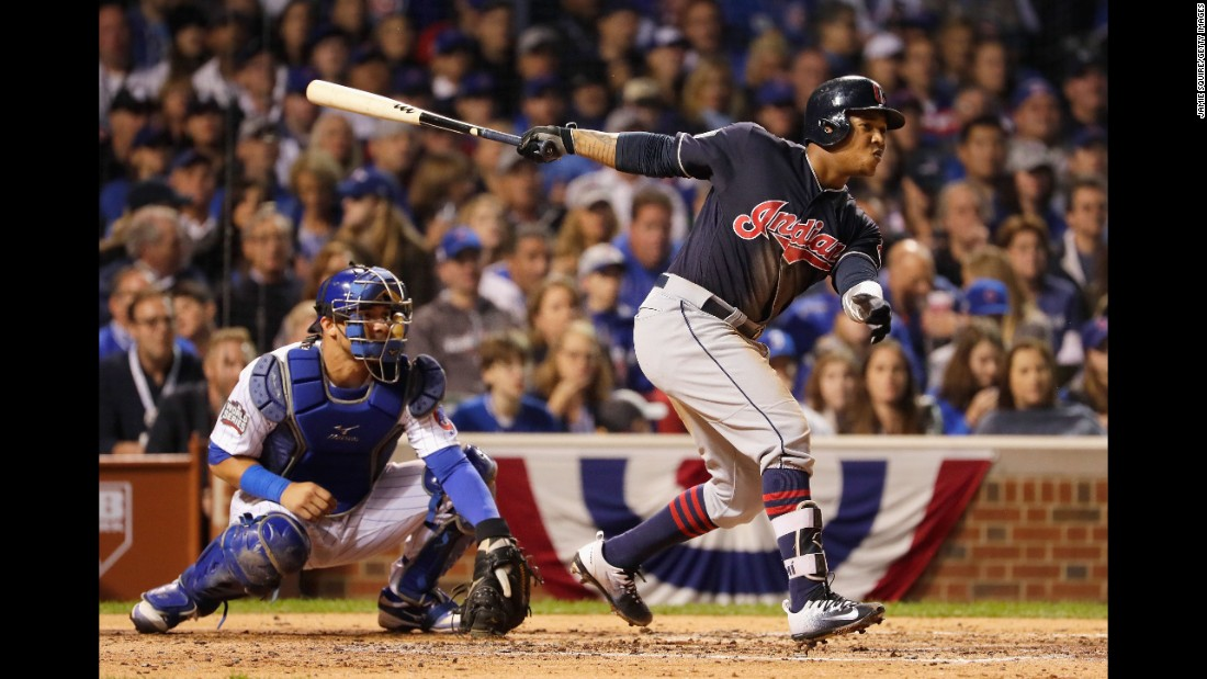 Francisco Lindor of the Indians hits a single in the fourth inning in Game 3.