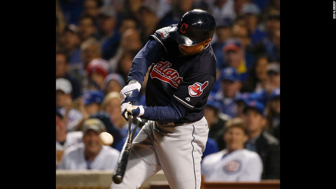 Coco Crisp of the Indians breaks his bat hitting an RBI single during the seventh inning in Game 3.