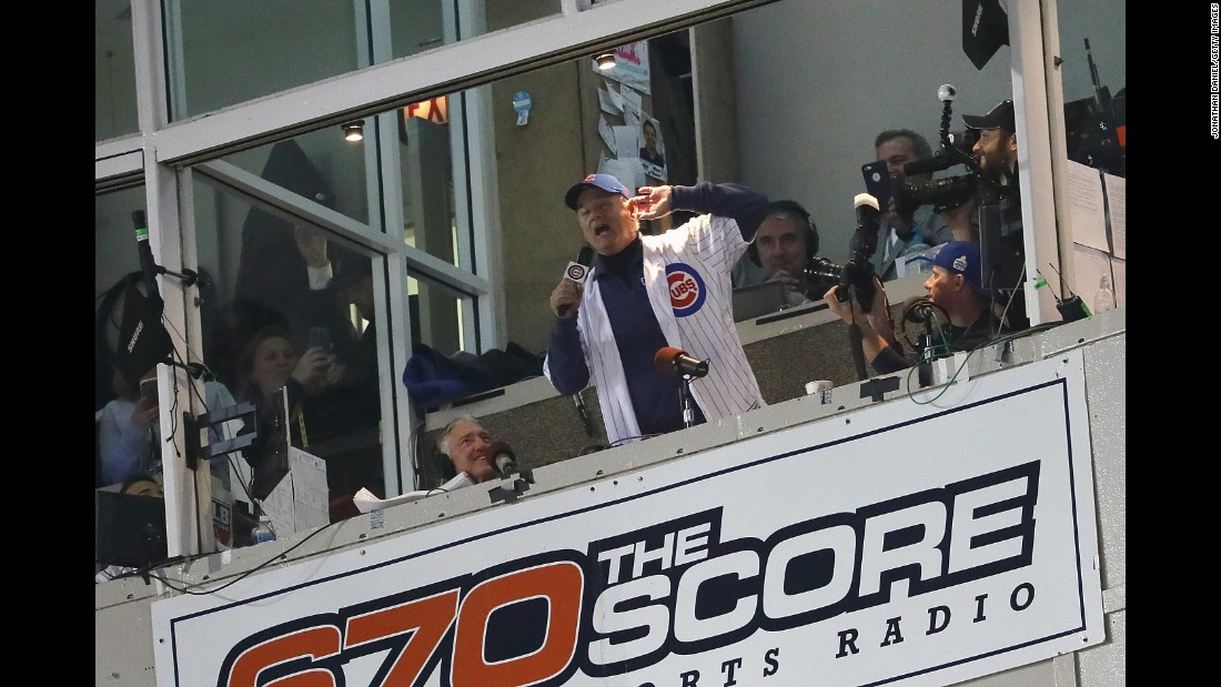"Actor Bill Murray sings ""Take Me Out to the Ball Game"" during the seventh inning stretch in Game 3."