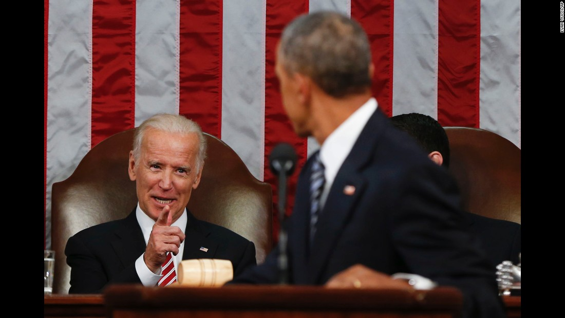 Biden points at Obama during Obama's final State of the Union address in January 2016.