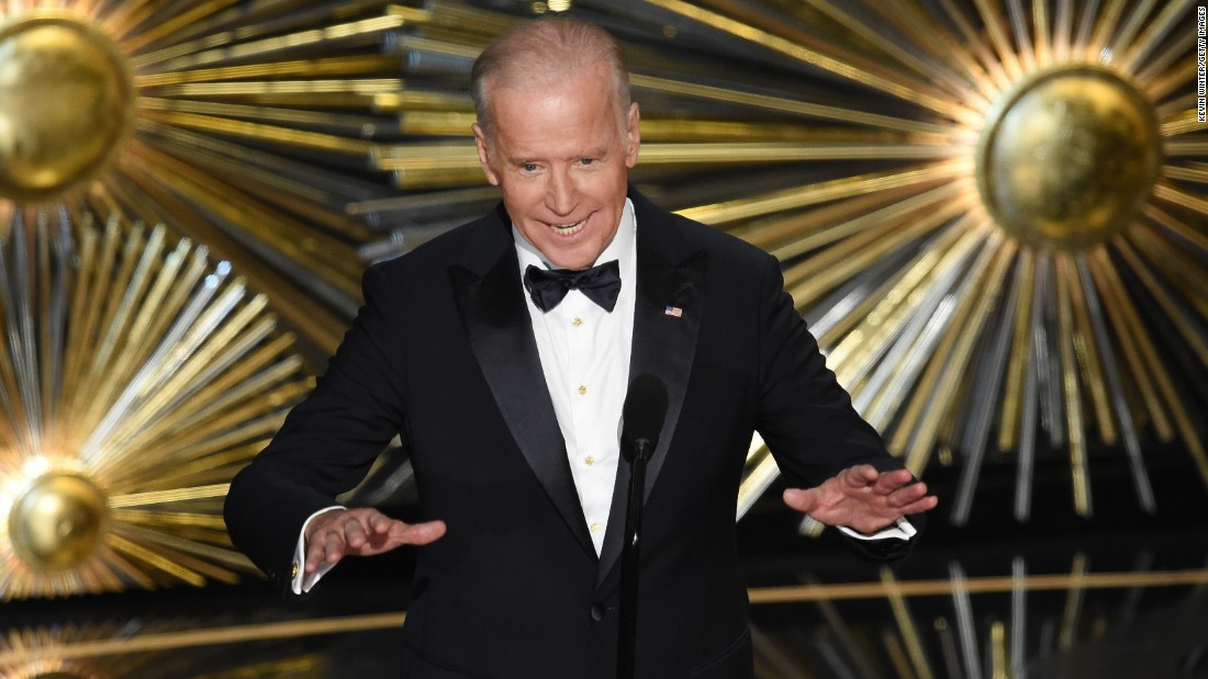"Biden speaks on stage during the Academy Awards in February 2016. Before introducing Lady Gaga's performance of ""Til It Happens to You,"" Biden encouraged Americans to take action against sexual assault on college campuses. ""Let's change the culture,"" Biden said. ""We must, and we can."""