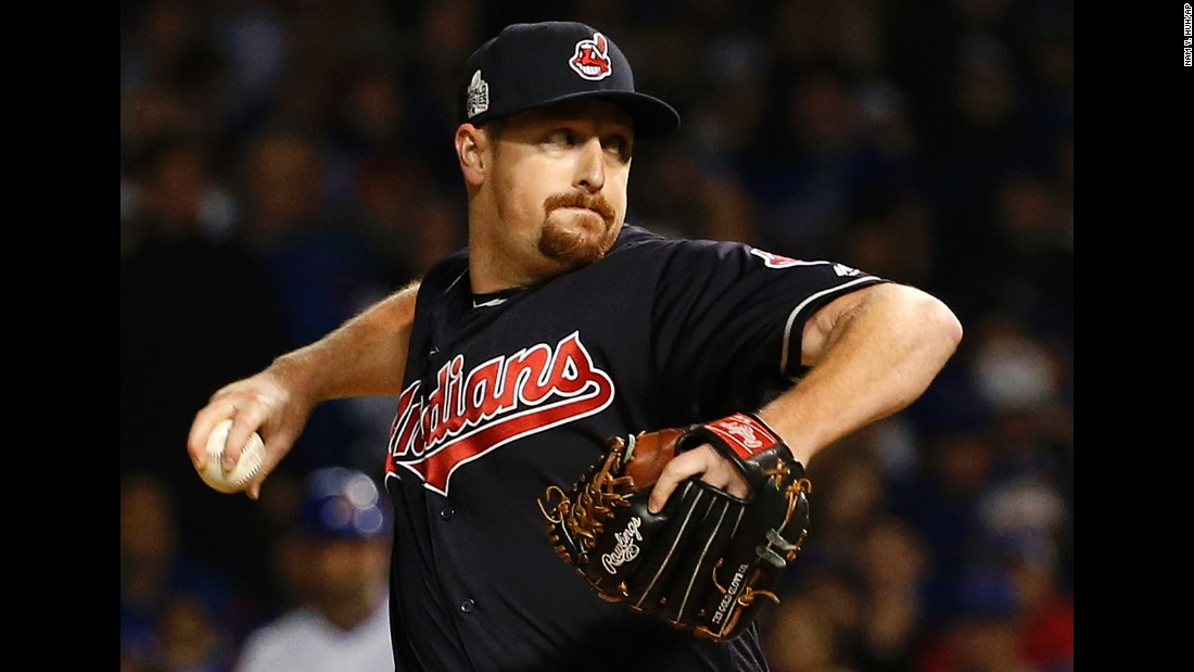 Bryan Shaw of the Indians throws a pitch during the seventh inning in Game 3.