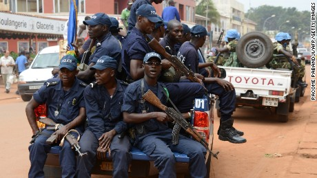Police forces patrol Bambari along with UN MINUSCA peacekeepers earlier this month.