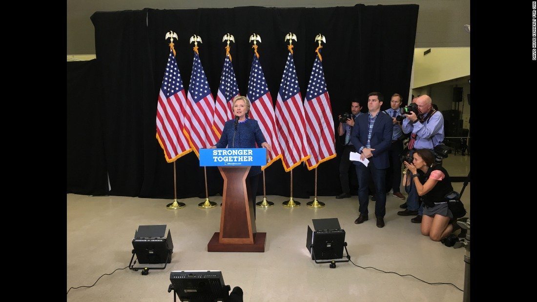 Clinton speaks at her news conference on October 28.