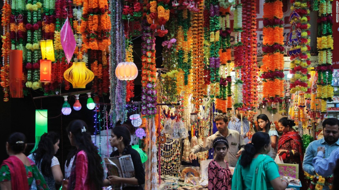 Lanterns and decorative items are on display at a market in Jammu, India, on October 29.