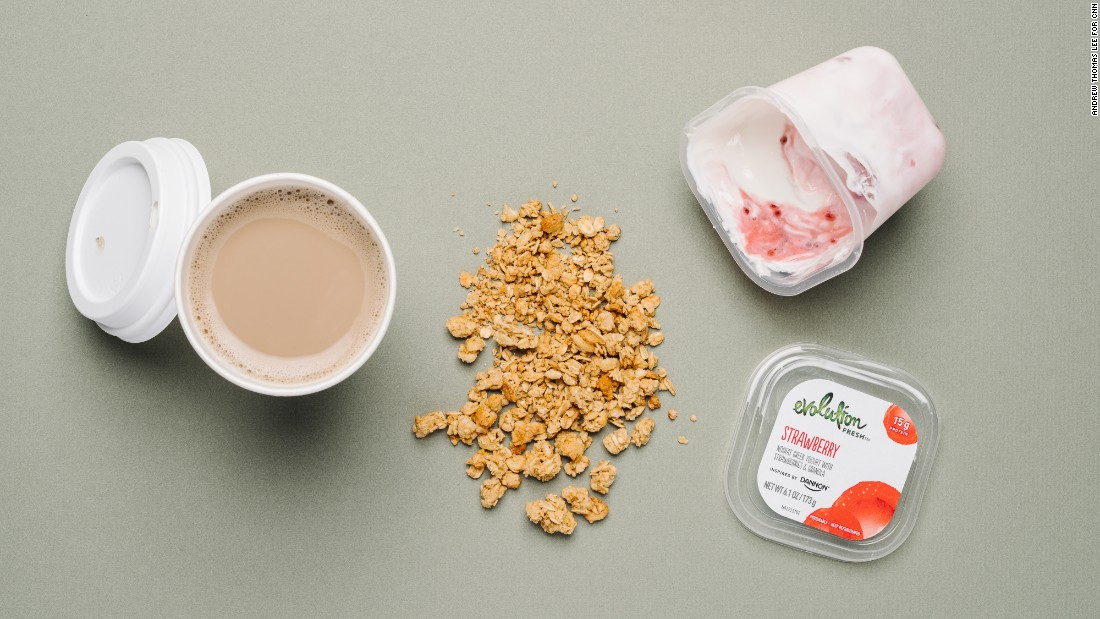 For vegetarians, a strawberry Greek yogurt parfait has 14 grams of protein and provides 15% of your daily calcium needs. A café latte with soy milk adds 7 grams of protein and another third of your daily calcium.