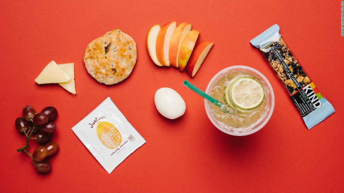 Starbucks's protein bistro box is packed with easy-to-nibble foods including a hard-boiled egg, apple slices, cheddar cheese, muesli bread and peanut butter. For long drives, grab a Kind bar, which will come in handy when hunger pangs begin to distract. A cool lime Refreshers beverage has a third of the calories of a typical lemonade and is lightly caffeinated with green coffee extract to keep you alert on the road.