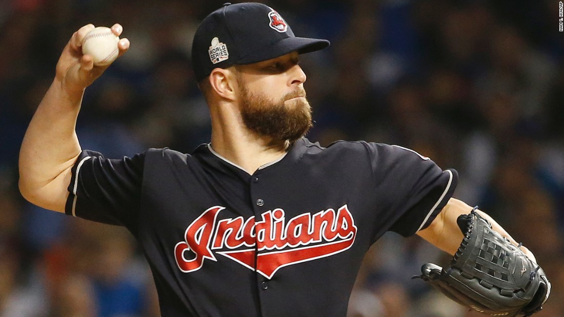 Indians starting pitcher Corey Kluber throws during the first inning of Game 4.