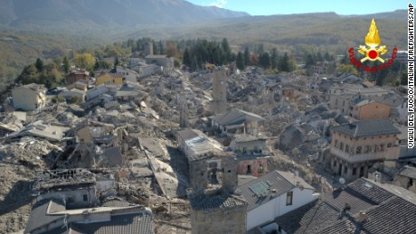 An aerial view of the destroyed hilltop town of Amatrice as an earthquake with a preliminary magnitude of 6.6 struck central Italy, Sunday, Oct. 30, 2016. A powerful earthquake rocked the same area of central and southern Italy hit by quake in August and a pair of aftershocks last week, sending already quake-damaged buildings crumbling after a week of temblors that have left thousands homeless.  (Vigili Del Fuoco/Italian Firefighters via AP)