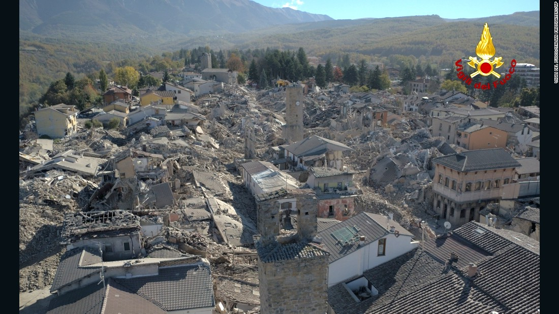 An aerial view shows the destruction in the hilltop town of Amatrice following the earthquake on October 30.