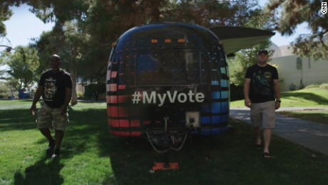 Al James and Drew Burke, the #myvote campaign camper drivers.