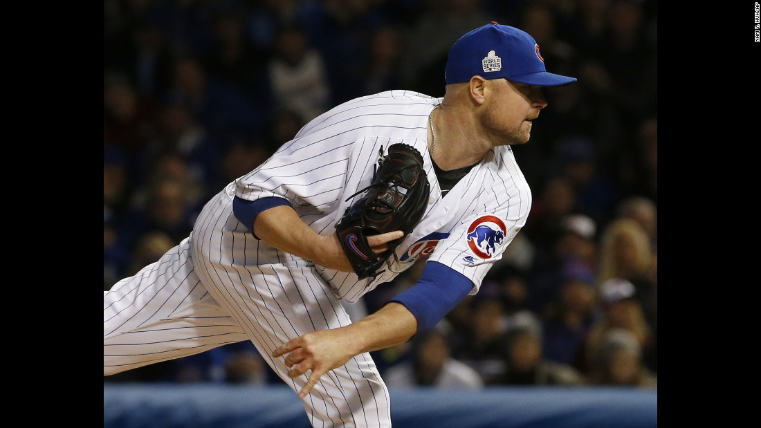 Chicago Cubs starting pitcher Jon Lester throws during the first inning of Game 5.