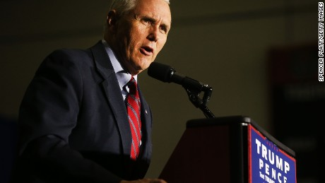 Republican Vice Presidential Candidate Mike Pence speaks at a rally on October 25, 2016 in Marietta, Ohio.