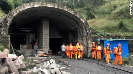 Rescuers teams at Jinshangou Coal Mine in Chongqing, southwest China.