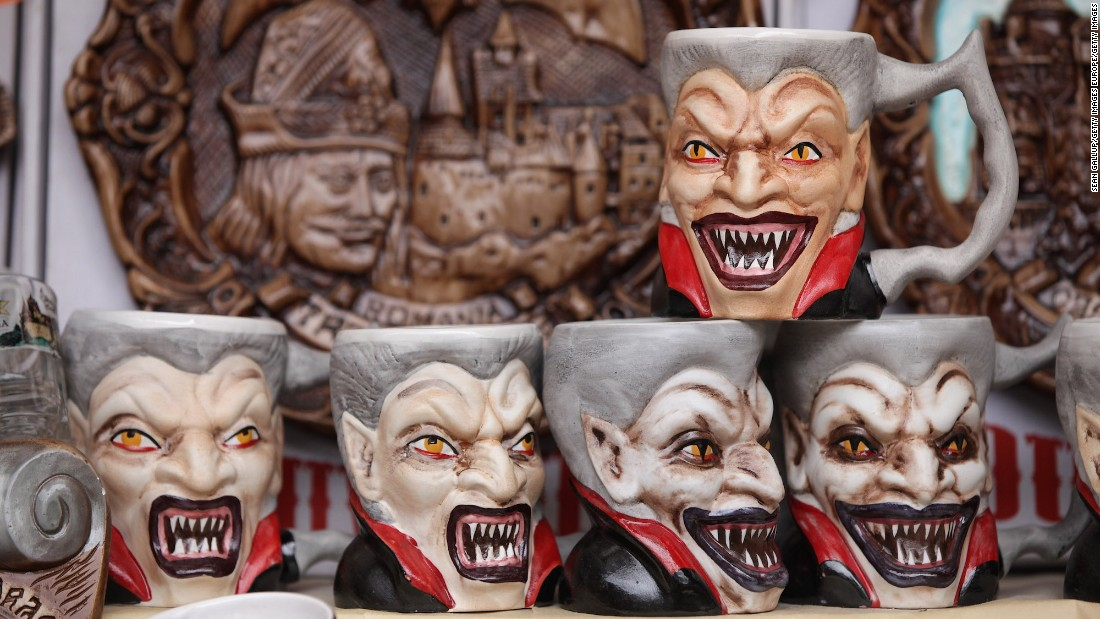 Drinking coffee out of one of these Dracula mugs -- on sale at a Bran Castle souvenir shop -- is sure to wake anyone up in the morning.