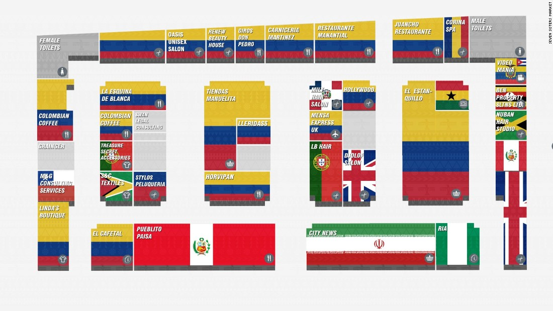 Map of store nationalities in the market, dominated by Latin American and particularly Colombian businesses.