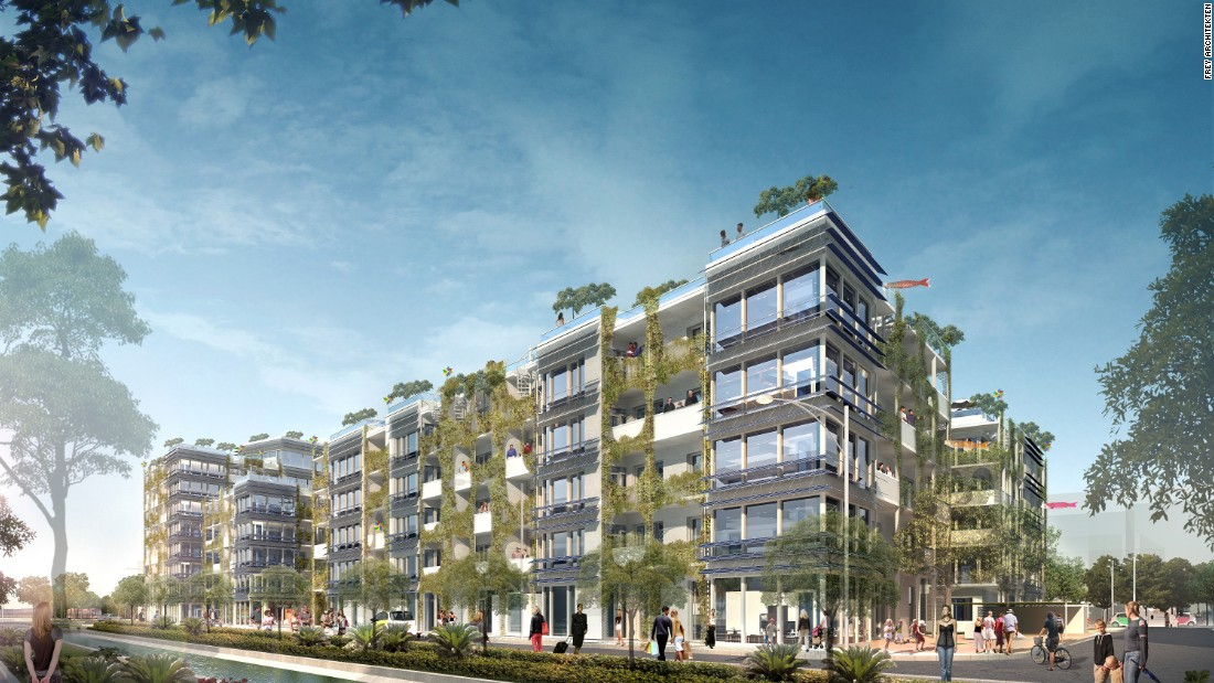 Rendering of the 162-room 'passive house' complex under construction in the Bahnstadt experimental zone of Heidelberg. <br /><br />Frey Architects have incorporated several innovative features to support the group's conception of sustainability.