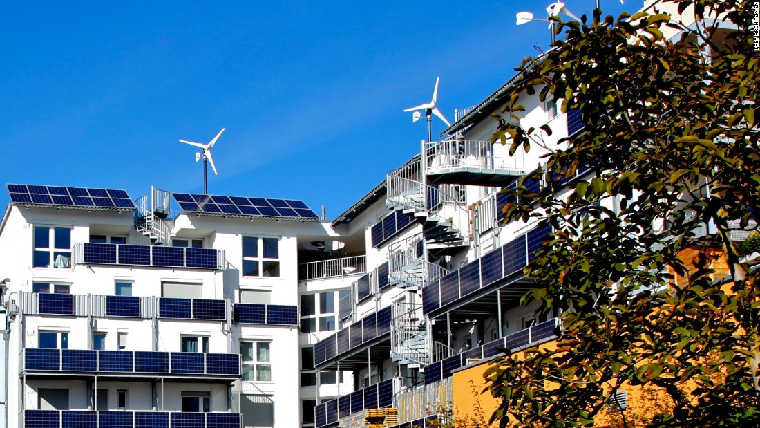 The buildings use solar and wind power, and the solar powers have the dual function of providing shade in summer. <br /><br />The 'passive house' concept refers to buildings that can store energy without needing fossil-fuel powered heating or ventilation systems.