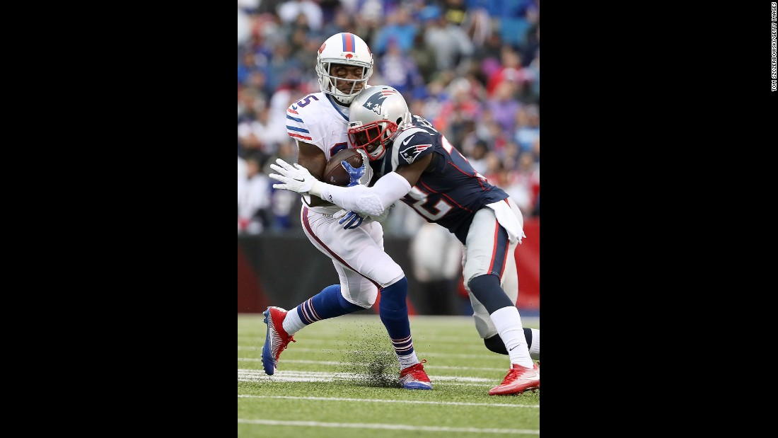 New England's Devin McCourty hits Buffalo's Brandon Tate during an NFL game in Orchard Park, New York, on Sunday, October 30. Tate left the game after the hit.