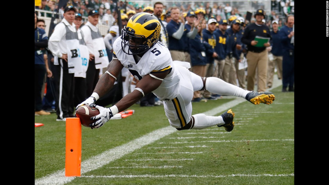 "Michigan's Jabrill Peppers dives for a touchdown at Michigan State on Saturday, October 29. Peppers <a href=""http://www.freep.com/story/sports/college/university-michigan/wolverines/2016/10/30/michigan-jabrill-peppers/93006116/"" target=""_blank"">played at least 10 different positions</a> during the rivalry game, which Michigan won 32-23."