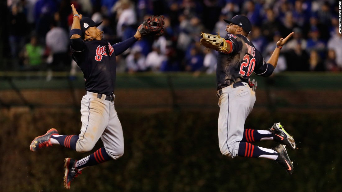 Francisco Lindor, left, and Rajai Davis celebrate after the Cleveland Indians won Game 3 of the World Series on Friday, October 28. The Indians are seeking their first World Series title since 1948.