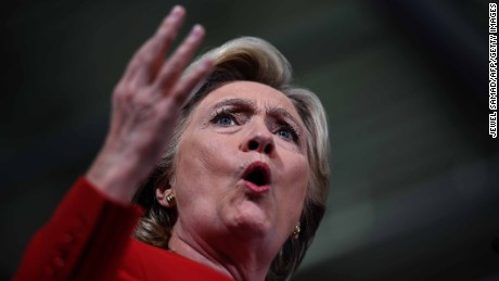Hillary Clinton speaks during a campaign rally at the Kent State University in Kent, Ohio, on October 31, 2016.