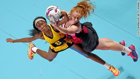 MELBOURNE, AUSTRALIA - OCTOBER 30:  Sam Sinclair of New Zealand and Nicole Dixon of Jamaica compete for the ball during the Fast5 Netball Series match between New Zealand and Jamaica at Hisense Arena on October 30, 2016 in Melbourne, Australia.  (Photo by Scott Barbour/Getty Images)