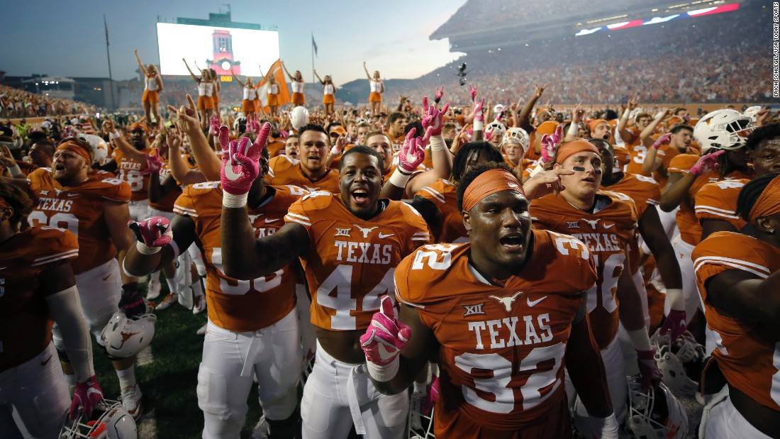 Texas football players celebrate after their 35-34 home win against Baylor on Saturday, October 29. It was Baylor's first loss of the season.