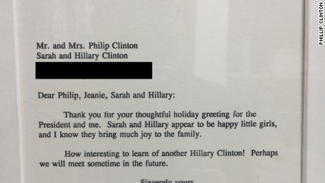 First Lady Hillary Clinton replied to a letter sent by her namesake's mother in 1993
