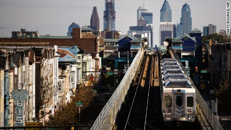 A train moves along the Market-Frankford Line in Philadelphia on Wednesday, October 26, 2016.
