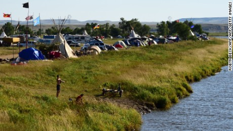 A view of a protest camp near Cannon Ball, North Dakota.