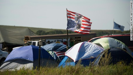 An upside-down American flag seen inside the camp in North Dakota.