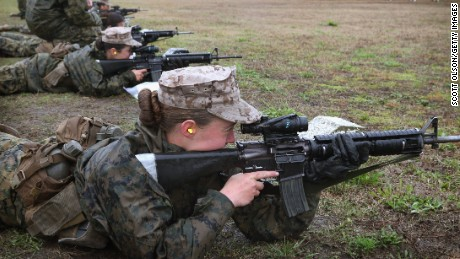Female Marine recruits on the rifle range during boot camp at Parris Island, South Carolina.