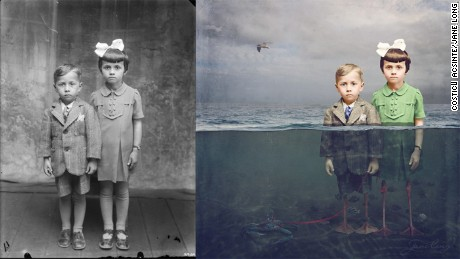 Black and white wartime photos transformed into ghostly fantasies
