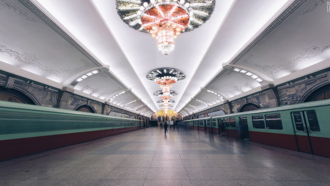 Elaine Li photographed rarely seen moments in North Korea during her travels. One highlight from her journey was the Pyongyang Metro.<br />Decorations were often elaborate, including chandeliers on the ceilings, marble pillars and paintings of Kim Jong Il.