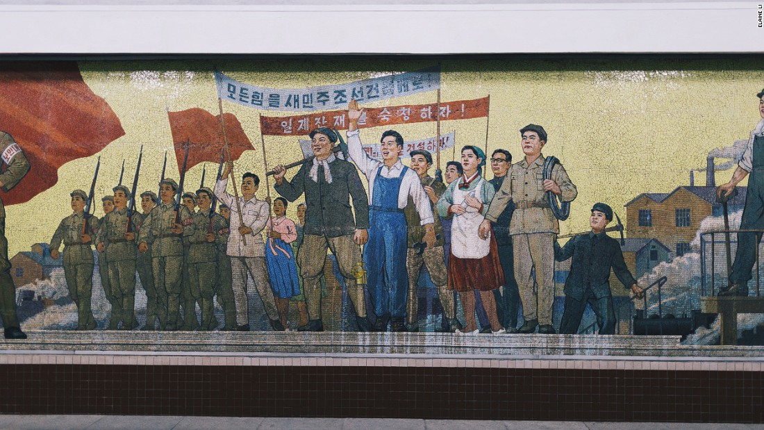 "Li drew comparisons between the advertisements on display in the subway in Hong Kong and the propaganda on display in North Korea. ""In many ways these two set ups are very similar, because both systems showcase images by small group of people telling you to think in a certain way,"" she said."