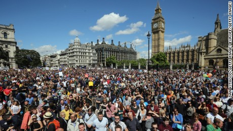 Crowds gather in Parliament Square to protest the result of the UK referendum last summer in London.